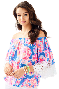 d08abbf014f1cd I LOVE the cut of this top! Off the shoulder is so trendy, as well as the  lace detail sleeve.